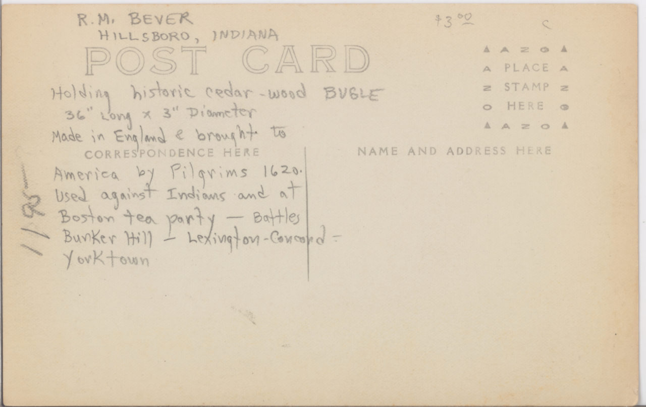 R. M. Bever Hillsboro IND Wooden Bugle INFO