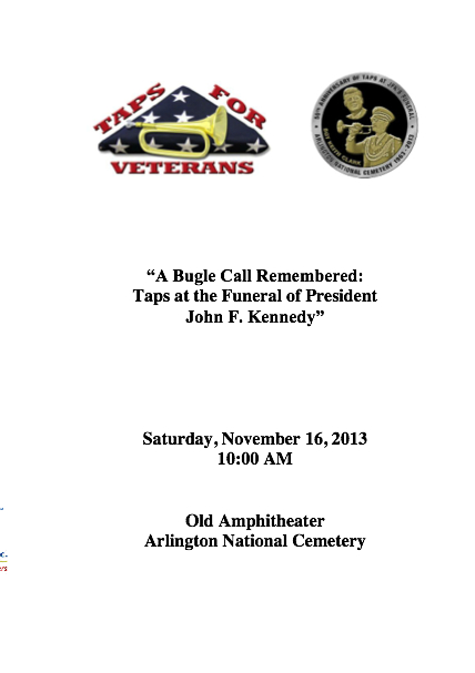 Program for Taps For Veterans November 16 ceremony at Arlington FINAL copy