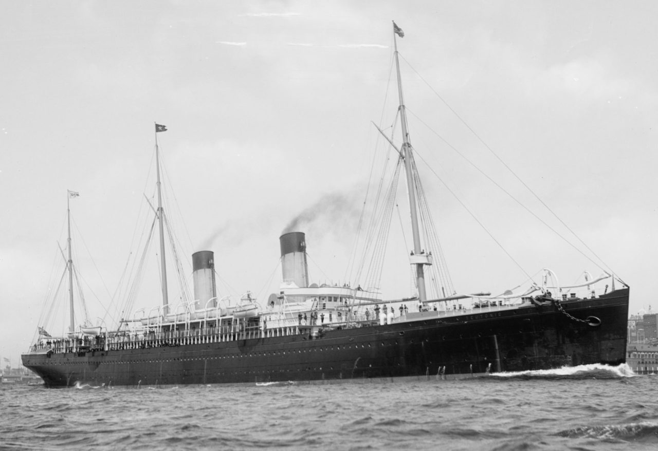 The S.S. Teutonic. Note the US Flag flying at the foremast.